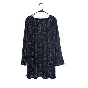 Tildon Long Sleeve Studded Black Shift Dress XL